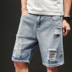 ハーフパンツ メンズ ショートパンツ ダーメージ デニム ジーンズ  デニムパンツ ジーパン ショーツ ハーパン 短パン 涼しい 夏の画像