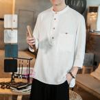 七分袖Tシャツ メンズ 綿麻 Tシャツ 半袖Tシャツ カットソー クールネック 大きいサイズ カジュアル おしゃれ 夏