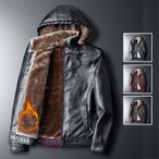 革ジャン メンズ 裏起毛 ライダースジャケット フード付き PUレザー レザージャケット ジャケット 防寒 秋冬