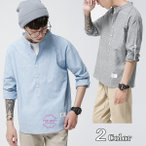 ショッピングストライプ ストライプシャツ メンズ バンドカラーシャツ 長袖シャツ コットンシャツ ジュニアシャツ ファッション 2018 新春