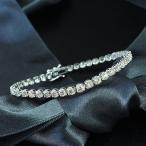 ブレスレット レディース 5ct ダイヤモンド K18 ホワイトゴールド テニスブレスレット 4月誕生石