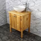 60cm幅木目化粧收納と木目カウンターと丸型洗面器水栓セット Ambest WP9164【激安】