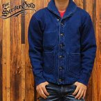 ストライクゴールドTHE STRIKE GOLD インディゴ染め吊り編みショールカラースウェットカーディガン インディゴアウト「SGC009ID」