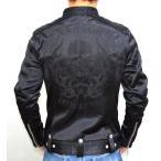 当店別注 VANSON バンソン ボンディング シングル ライダース ファイヤースカル 総刺繍  ABV-601ブラックーB色