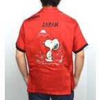 テーラー東洋 TALOR TOYO × PEANUTS スヌーピー スカシャツ ボーリングシャツ TT37331 Mt.FUJI & SNOOPY  レッド色