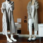 カーディガン レディース 秋冬 ニットコート ロングカーディガン 羽織り セーター 前開き 長袖 フード付き アウター 上品 綺麗 3色