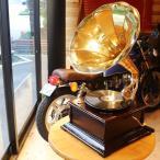 レコードプレーヤー アンティーク 蓄音機 グラモホーン クラシック レトロ ラッパ 木製 インテリア サウンドボックス 替針入り インド製