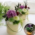 喪中はがきが届いたら 供花 お供え キャンドル プリザーブドフラワー LED 仏花 華灯り