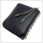 クロムハーツ 財布(Chrome Hearts)3サイドジップブラック ヘビーレザー