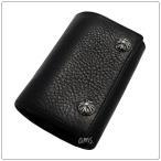 クロムハーツ 財布(Chrome Hearts)3フォールド クロスボタンブラック ヘビーレザー