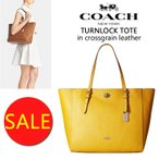 SALE【正規品】送料無料★COACH コーチ Turnlock Tote レザー トート ターンロック トートバッグ 黄色 鞄 バッグ