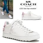 【正規品】送料無料★COACH コーチ c101 low top sneaker スニーカー ロートップスニーカー 白 レディース ピンク 靴
