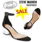 スティーブマデン Steve Madden Inspired ローヒール クリアサンダル ブロックヒール サンダル アンクルストラップ 正規品 送料無料 US直輸入 セール