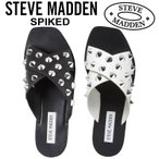 Steve Madden SPIKED スティーブマデン サンダル スライドサンダル スタッズ クロス フラット レザー ぺたんこ 白 黒 US正規品・送料無料 US直輸入