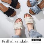 フリルサンダル 韓国 ファッション レディース 夏用 履物 かわいい 歩きやすい vl-5219