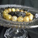 ゴールドルチルクォーツブレスレット 丸玉玉ビーズ 13ミリ