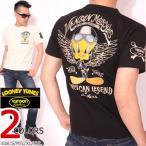 VANSON ルーニー・テューンズ コラボ トゥイーティー 半袖Tシャツ 刺繍 LTV-716 バンソン LOONEY TUNES ワッペン
