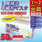 箱付き マスク BFE VFE PFE 99%カット 不織布マスク 50枚 セット 花粉 飛沫防止 在庫あり ふつうサイズ ホワイト 白 使い捨て 男女兼用