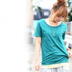 半袖Tシャツ/半袖カットソー/無地/トップス/レディース/ロング丈