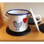 【ままごと 青い鳥 ホーロー食器<両手鍋・大 NEW>ミュンダー エマイル社・ドイツ】