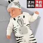 新生児幼児ベビーロンパース長袖漫画ゼブラジャンプスーツ+キャップセット/予約品