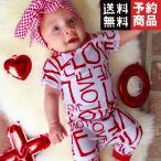 【予約品】 女の子男の子服レタープリントデザインコットンベビーロンパース ベビー服 半袖