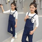 韓国サロペット パンツ キッズ ジュニア 子供服 ボトムス ロングパンツ 長ズボン オーバーオール 女の子