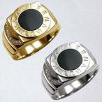 リング メンズリング メンズ 18金 18K ゴールド 指輪 オニキス ダイヤモンド 印台 可愛い