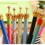 ボールペン 王冠モチーフ ドット水玉柄 高級感ゴールド仕上げパールボールペン