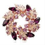 胸針 - ブローチ レディース リーフ フラワー 花 ビジュー 紫水晶 パープルカラー