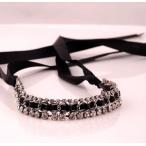 ショッピングネックレス ネックレスレディース チョーカー ブラックリボン CZダイヤモンド ビジュー 送料無料 ネックレス