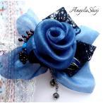 コサージュ 髪飾り / ヘッドドレス 薔薇 母の日プレゼント 藍色花コサージュ