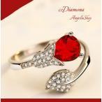 ショッピング指輪 指輪 レディース リング シルバー925 czダイヤモンド 滴 レッド サイズフリー 送料無料 アレルギーフリー