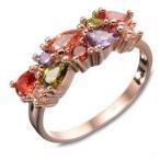 指輪 レディースカラフル彩色リング ピンクゴールド ジルコニア czダイヤプラチナ18KRGP 女性 送料無料