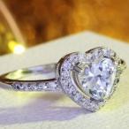 指輪 レディース ハートリング 大粒AAA級 ジルコニア czダイヤモンド プラチナGP 女性 送料無料