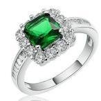 指輪 レディース エメラルドカラーリング 四角形 スクエア ジルコニア エタニティー プラチナGP 女性 送料無料