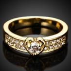指輪 レディース ジルコニアハートK18GPリング czダイヤモンド 上品 ハーフエタニティー 女性 送料無料