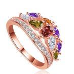 指輪 レディース カラフル彩石リング 七色 綺麗 czダイヤモンド 細部まで精巧 18KGP 送料無料