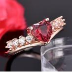 指輪 レディース 紅色ハートジルコニア リング レッド ピンクゴールド czダイヤ 18KGP 女性 送料無料