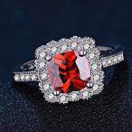 指輪 レディース レッドジルコニアスクエアリング 紅色 czダイヤ シルバー925プラチナGP 女性 送料無料