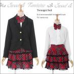 子供 スーツ 4点セット スカートスーツ チェックスカート ブラウス ネクタイ ブラック 黒 赤