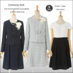 セレモニースーツ  3点 セット ワンピーススーツ スカート スーツ ノーカラー グレーネイビー 紺 9号 11号 13号
