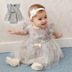 ベビー服 coto cotte 花柄 シアー ワンピ ボディ 赤ちゃん 半袖 かわいい おしゃれ 女の子 お披露目 結婚式 チュール ワンピース リボン