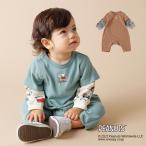 スヌーピー ベビー服  F.O.KIDS PEANUTS レイヤード風 ロンパース 赤ちゃん 長袖 女の子 男の子 ブルー ブラウン 60 70 80