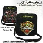 エドハーディーブラックナナメ掛けメッセンジャーミニバッグ(ED HARDY、Caprio All Over Collage Messenger Bag、Caprio Tiger Messenger Bag 、黒)