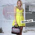 2017新作!NICOLE LEE ニコールリー SEQ11704 BAG 大人可愛いお花スパンコールフェミニンハンドバッグ ピンクブラック クラシカル 女の子 エナメル華やかバック