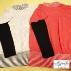 ショッピングパフスリーブ キッズ 長袖 レイヤード風 パフスリーブ トップス ロンT ピンク 白 子供服