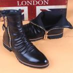 年始セール シークレットブーツ サイドジップ メンズ シューズ ヒールブーツ 紳士靴 革ブーツ サイドチャック チャッカブーツ バイクブーツ