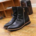 年始セール ヒールブーツ メンズシューズ サイドジップ 牛革 本革 革靴 シークレットブーツ 裏起毛紳士靴 革ブーツ サイドチャック チャッカブーツ バイクブーツ