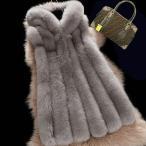 人気 ボリュームファーコート 袖無し  ファーコート 毛皮 豪華 フェイクファー フード付き ロングファーベスト チョッキ レディースアウター
